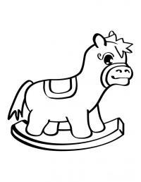 Детские раскраски для самых маленьких, лошадка качалка