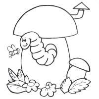 Скачать или распечатать раскраску распечатать скачать, червяк в домике грибочке
