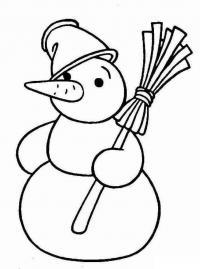 Скачать или распечатать раскраску распечатать скачать, снеговик с метлой