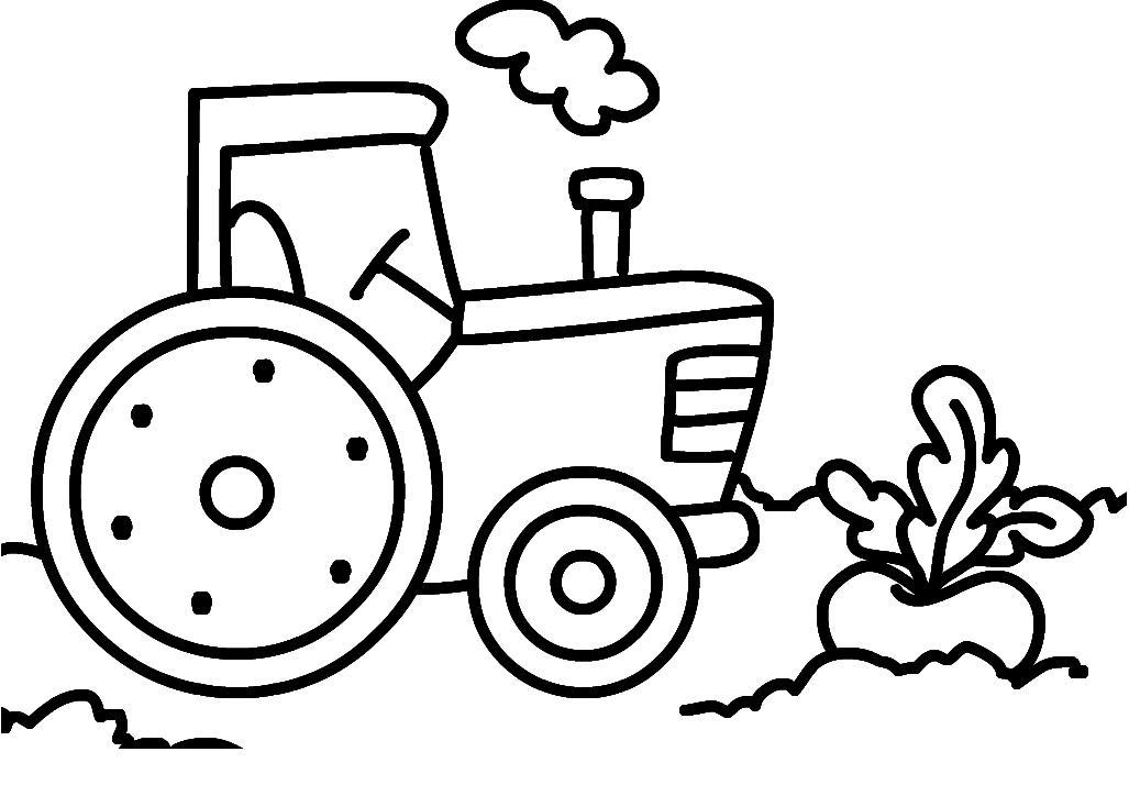 Раскраска трактор. раскраска простая раскраска трактор для малышей, разукрашка для маленьких детей, раскраска для малышей трактор