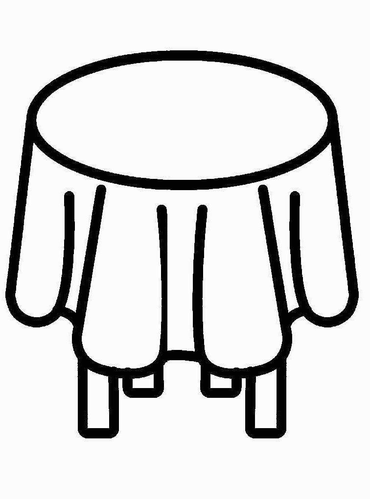 Широкий контур Распечатать раскраску для самых маленьких, стол со скатертью Раскраски распечатать