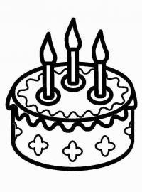 Распечатать раскраску для самых маленьких, торт со свечами
