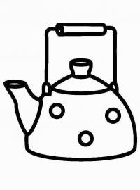 Распечатать раскраску для самых маленьких, чайник