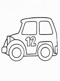 Распечатать раскраску для самых маленьких, машина