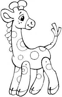 Распечатать раскраску для самых маленьких, жираф
