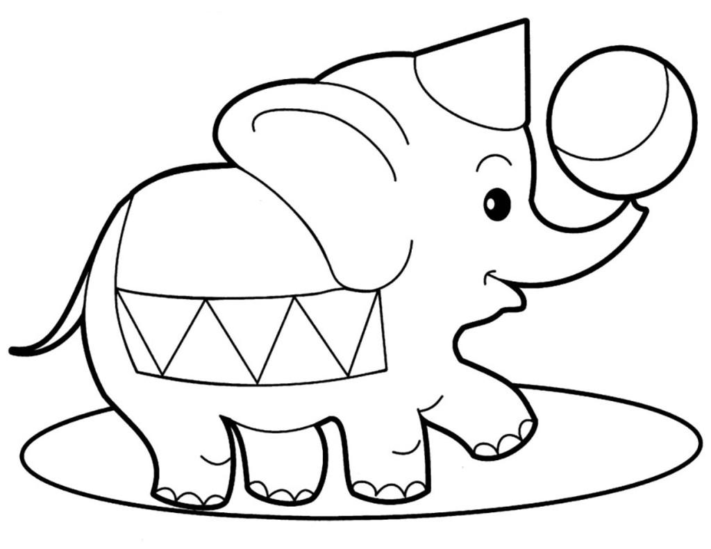 Раскраска для детей, раскраска для девочек, раскраска для мальчиков, слон в цирке