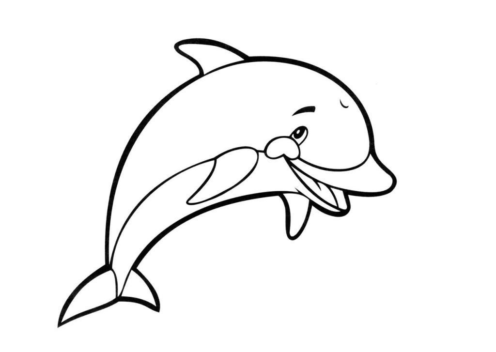 Раскраска для детей, раскраска для девочек, раскраска для мальчиков, дельфин