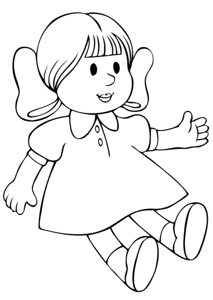 Красивые детские раскраски, раскраски для детей распечатать, скачать, сидящая кукла