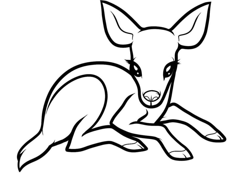 Раскраски для малышей скачать бесплатно, распечатать, олененок