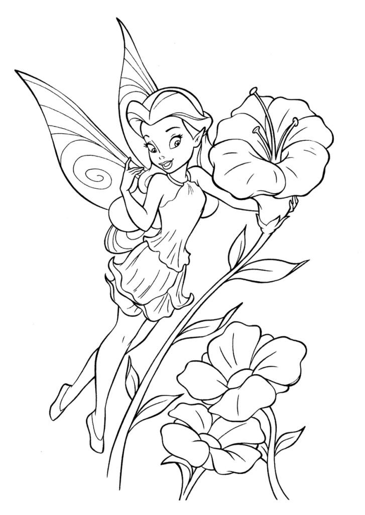 Раскраски для малышей скачать бесплатно, распечатать, фея среди цветов