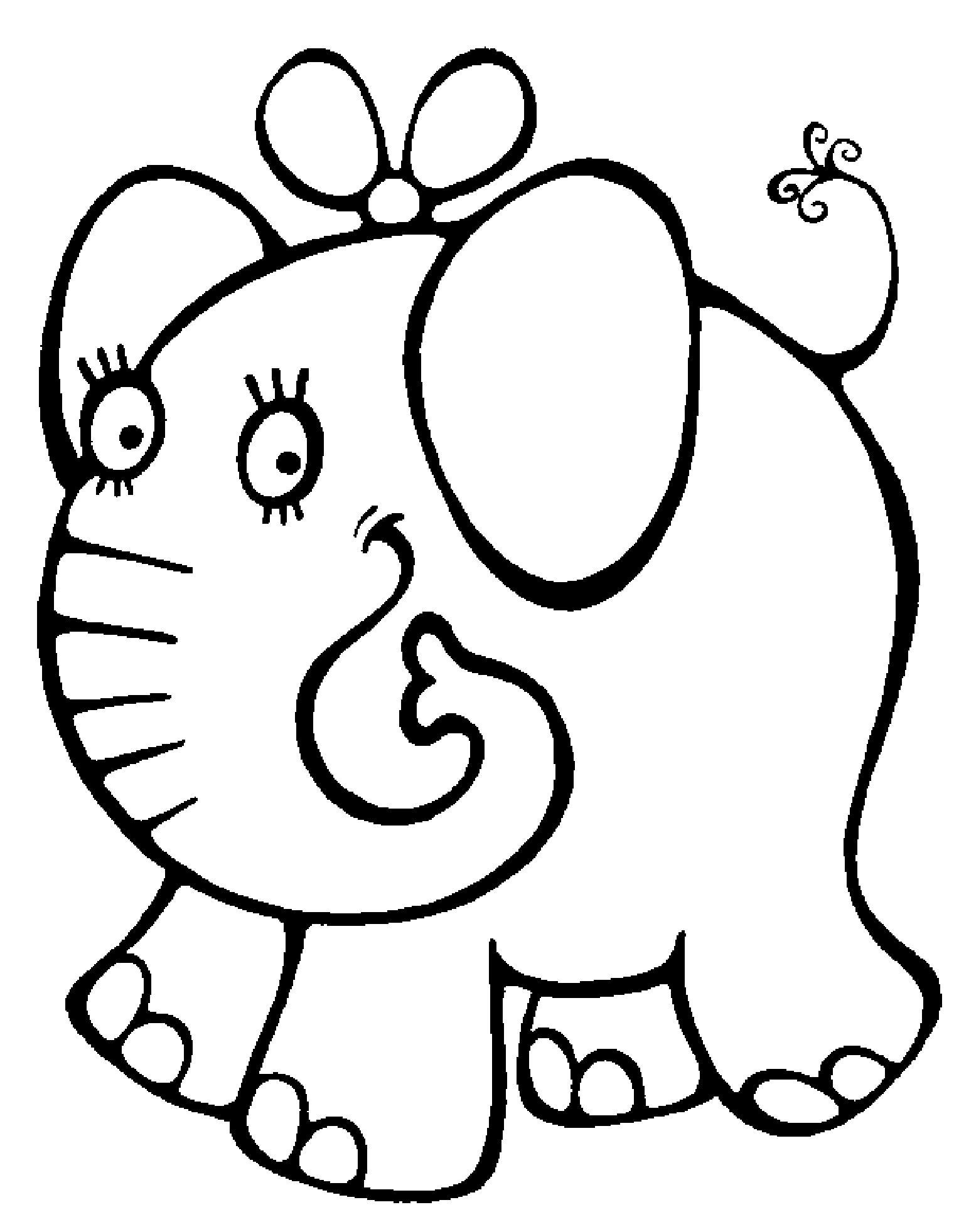 Распечатать бесплатные раскраски для детей: для самых маленьких:слон