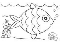 Раскраска для детей, раскраска для девочек, раскраска для мальчиков, рыбка