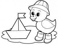 Раскраска для детей, раскраска для девочек, раскраска для мальчиков, утенок в сапожках и кораблик в луже