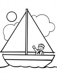 Красивые детские раскраски, раскраски для детей распечатать, скачать, матрос на корабле