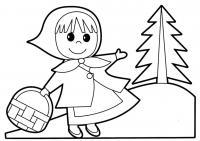Раскраски для малышей скачать бесплатно, распечатать, девочка с корзинкой
