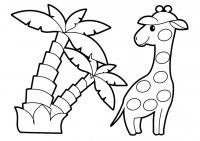 Раскраски для малышей скачать бесплатно, распечатать, жираф и пальмы