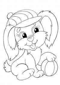 Раскраски для малышей скачать бесплатно, распечатать, песик в кепке с мячиком