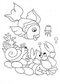 Подводный мир, красивые детские раскраски, раскраска для детей, раскраска для девочек, раскраска для мальчиков распечатать, скачать