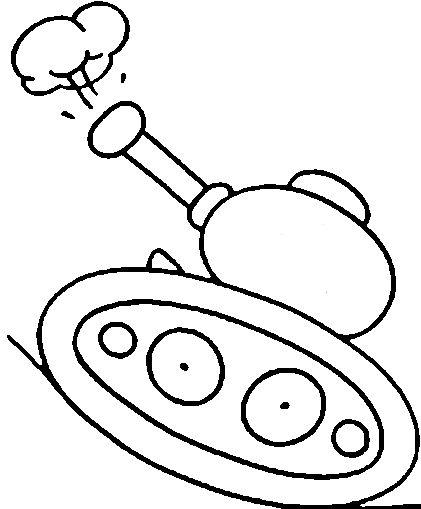 Распечатать раскраску для самых маленьких танк