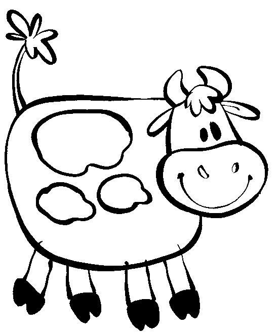 Распечатать раскраску для самых маленьких, корова