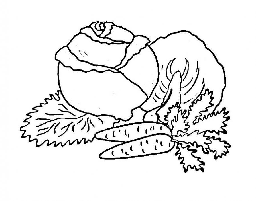 Корзина овощи раскраска