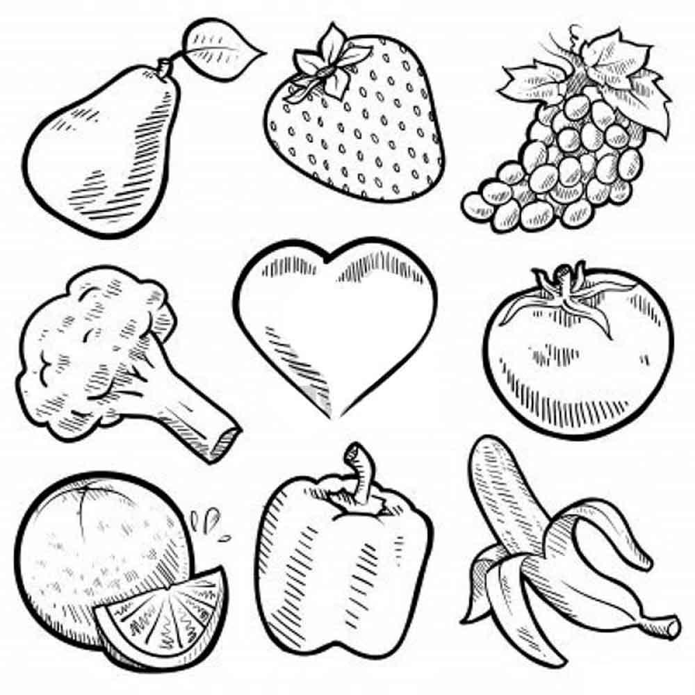 Скачать или распечатать раскраску распечатать скачать, груша, клубника, виноград