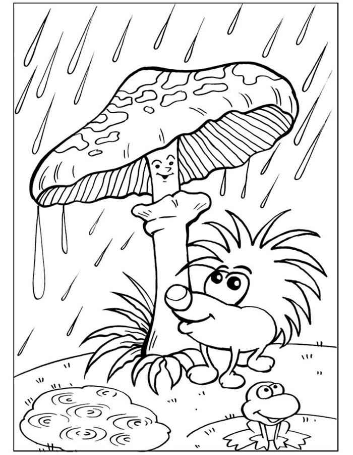 Детские раскраски для девочек и мальчиков. гриб, ежик, лягушка, дождь
