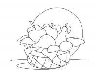 Детские раскраски для девочек и мальчиков. фрукты в корзине