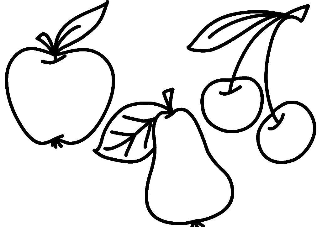 Раскраска фрукты. раскраска простая раскраска для малышей, раскраска яблоко, разукрашка груша, раскраска вишня