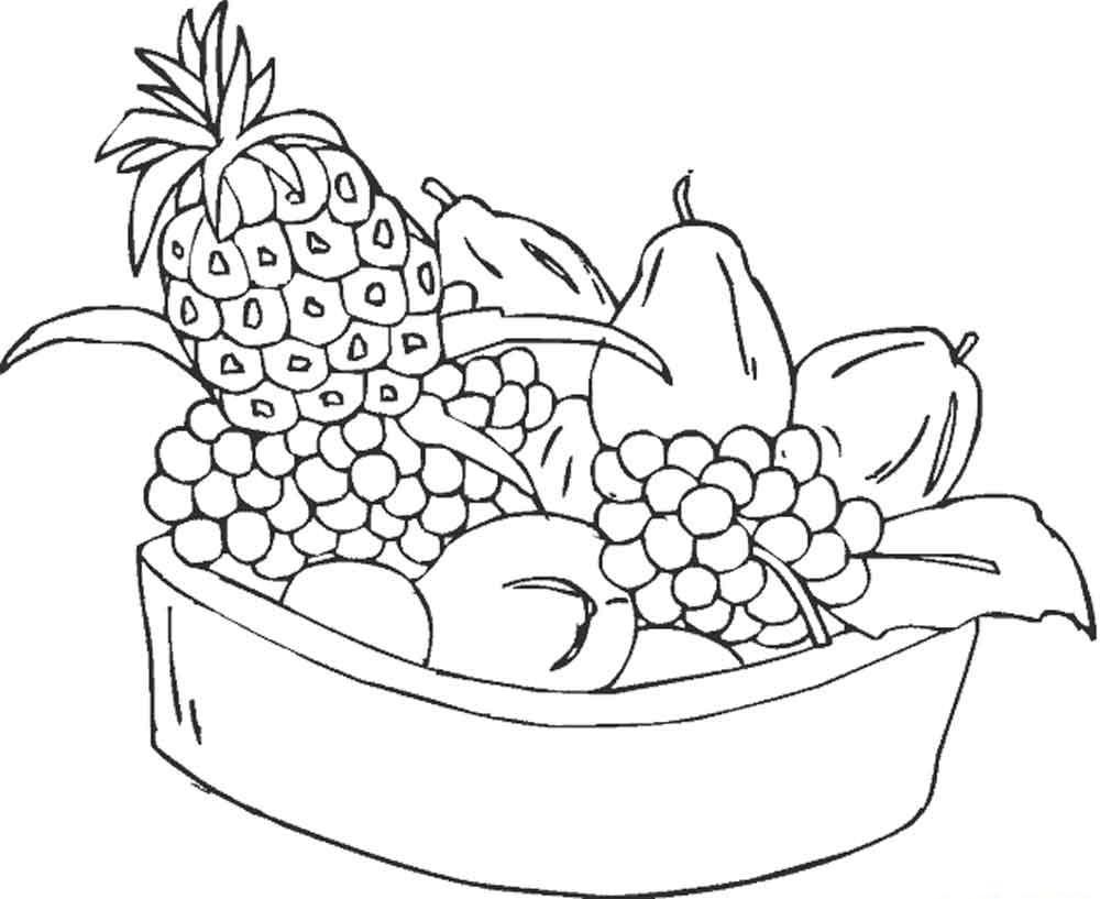Скачать или распечатать раскраску распечатать скачать, ананас, виноград, груша