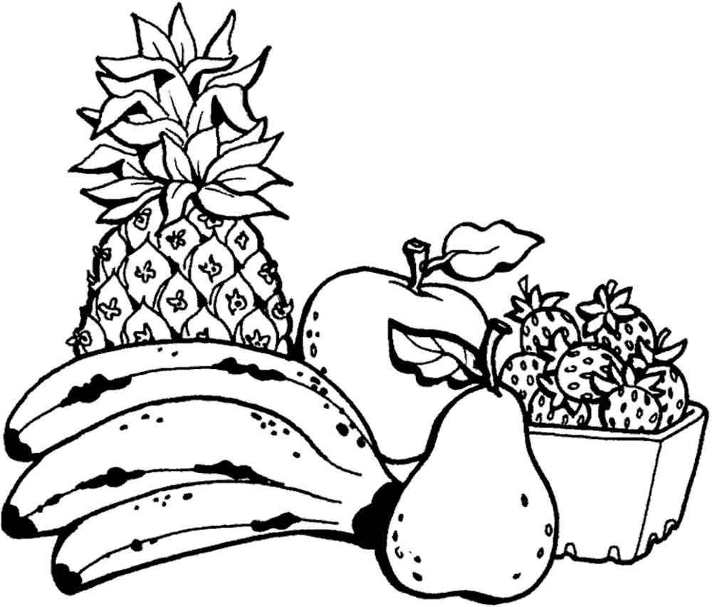 Ананас, яблоко, банан, груша, клубника