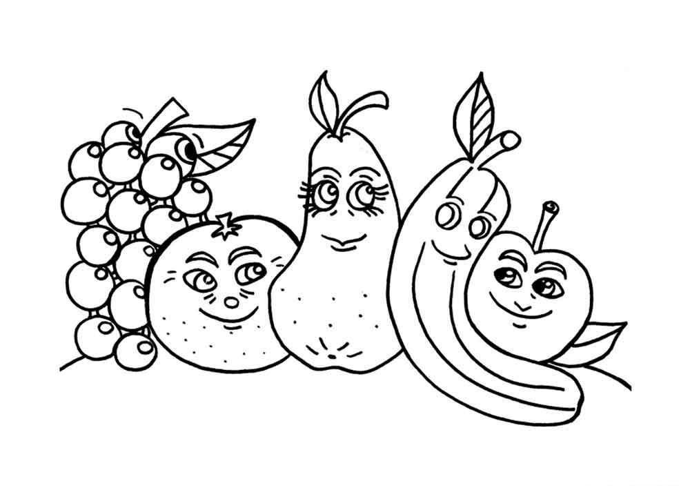 Скачать или распечатать раскраску распечатать скачать, виноград, апельсин, груша