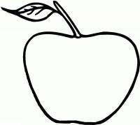 Раскраски фрукты для детей, яблоко