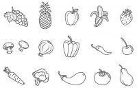 Скачать или распечатать раскраску распечатать скачать, виноград, ананас, яблоко