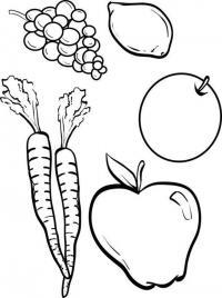 Скачать или распечатать раскраску распечатать скачать, виноград, лимон, морковь, яблоко