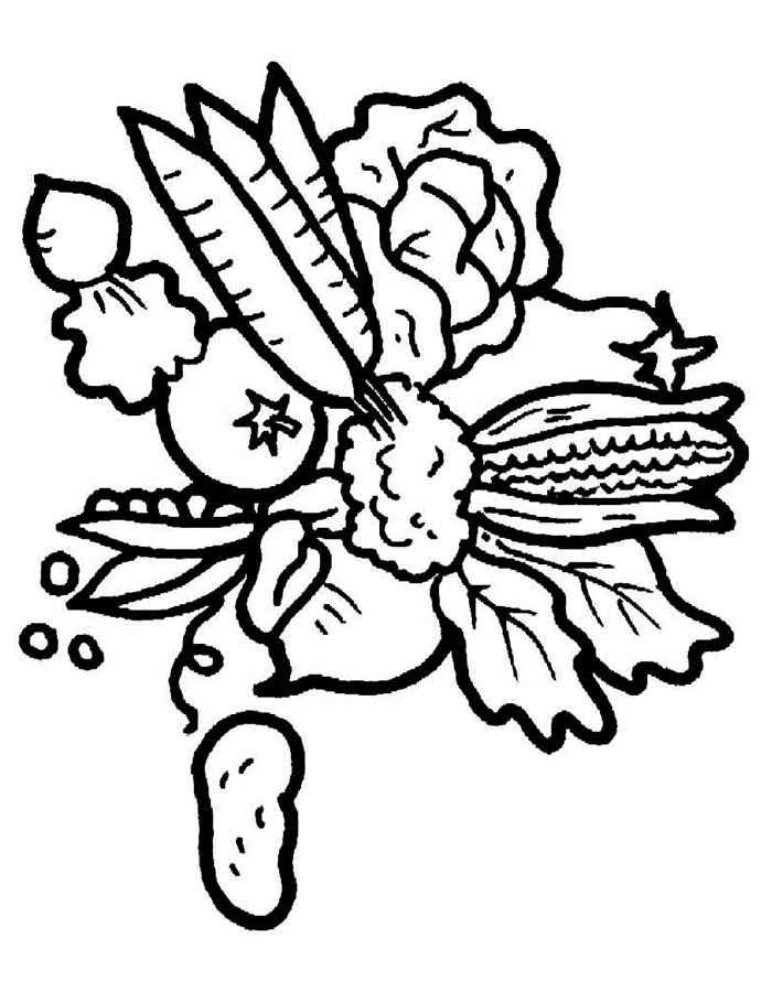 Широкий контур Детские раскраски для девочек и мальчиков, букет овощей Раскраски распечатать