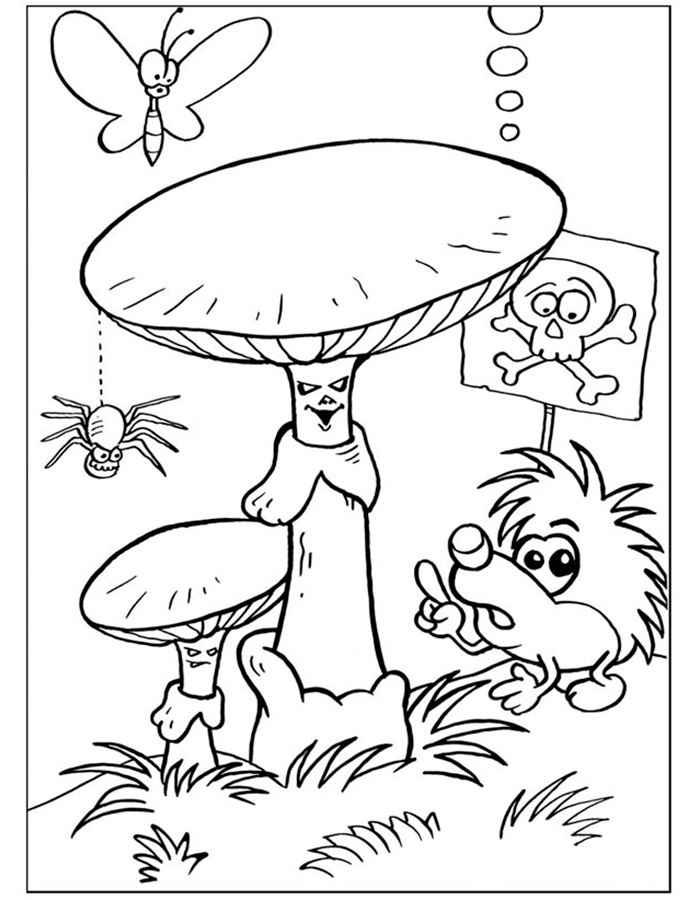 Детские раскраски для девочек и мальчиков, поганки, насекомые и ежик