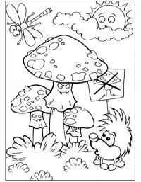 Детские раскраски для девочек и мальчиков, грибочки, мухоморы, ежик, стрекоза