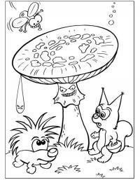 Детские раскраски для девочек и мальчиков, злой гриб мухомор, муха, ежик и белочка