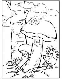 Детские раскраски для девочек и мальчиков. грибы подберезовики и еж