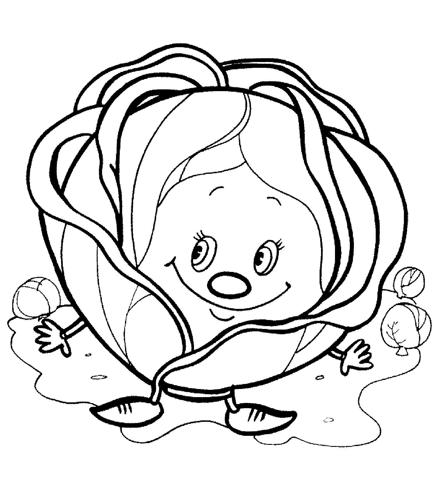 Распечатать бесплатные раскраски для детей: для самых маленьких: капуста