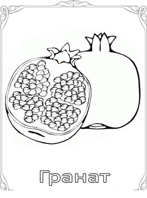 Карточки-раскраски для детей -фрукты, гранат