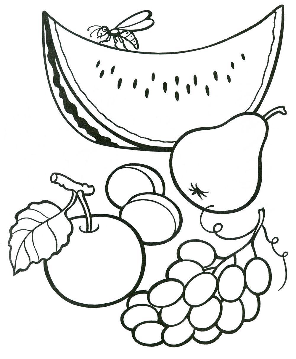 Раскраски фрукты  раскраски фрукты, для детей, распечатать, онлайн