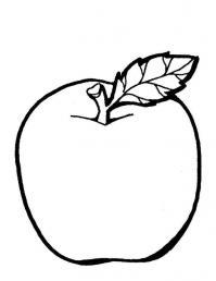 Детские раскраски фрукты, яблоко