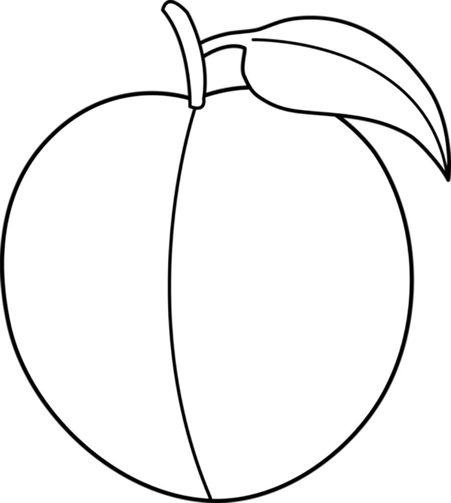 Раскраски фрукты и овощи персик контур, фрукты для вырезания из бумаги