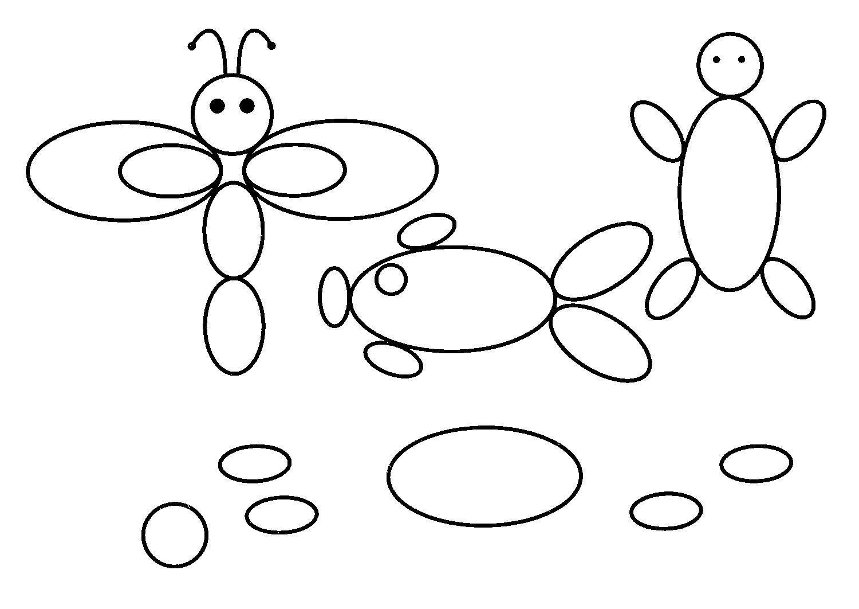 Раскраски фигуры эллипсы бабочка раскраски