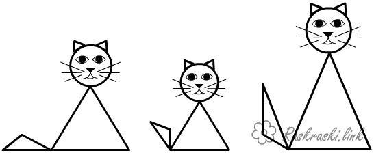 Раскраски фигуры коты из геометрических фигур