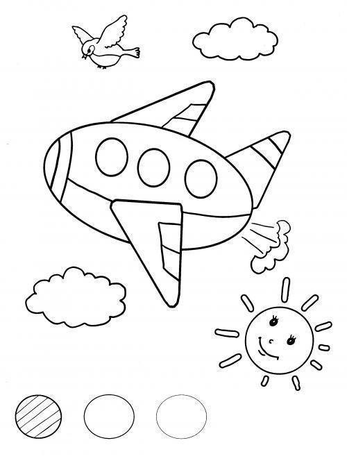 Раскраски фигуры самолет солнце птица облако