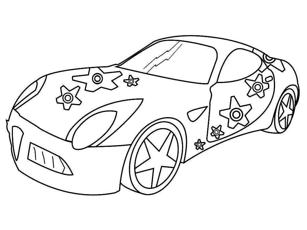 Детские раскраски для малышей, машина со звездами