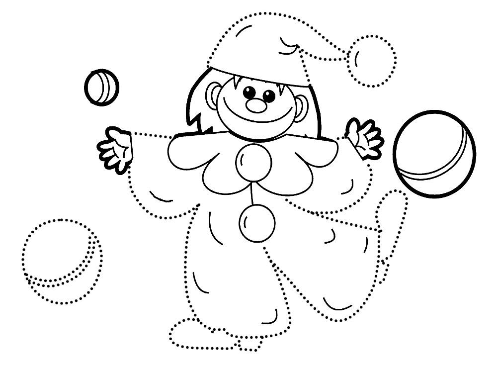 По точкам Детские раскраски по точкам, клоун Раскраски распечатать